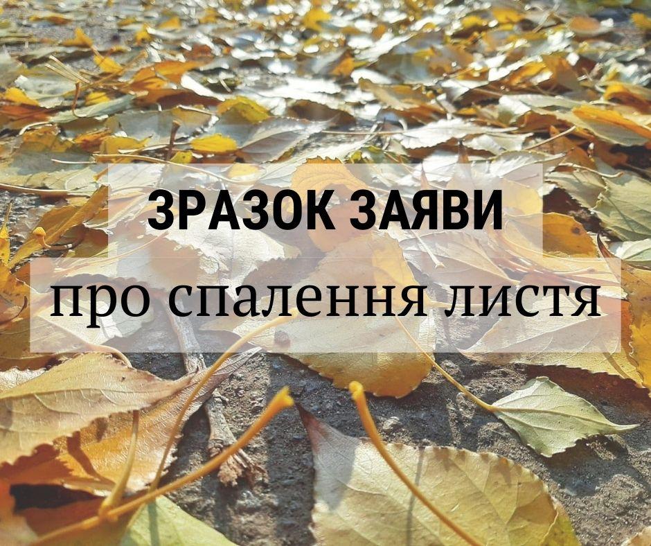 Заява дільничному про спалення листя та рослин /ЗРАЗОК/